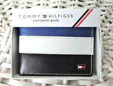 Men's Leather Wallet 'Tommy Hilfiger'Bifold, BLACK,WHITE&BLUE,Coin Pouch,MRP $60