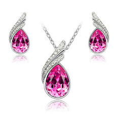 Austrian Crystal Water Drop Jewelry Set, Pendant, Earrings, 4 Color Choices