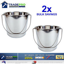 2x Stainless Steel Bucket With Handle 12ltr HDuty Premium Quality NewMODEL 12l