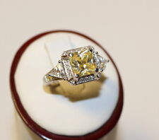 3 Carat Silver Ring with Canary Yellow and Crystal Color Gemstones Size 8 #S12E