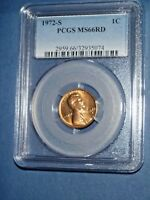 1972-S 1C RD Lincoln Cent-PCGS MS66RD--207-2d