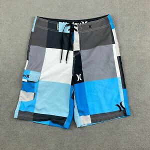 Hurley Men's Swim Trunks Shorts Size 30 Drawstring 100% Polyester Athletic Beach