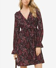 $175 Michael Kors Womens Black Red Floral Casual V-Neck Long-Sleeve Dress P/S