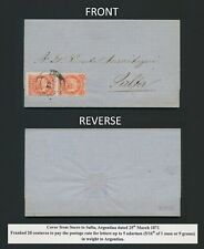 1871 BOLIVIA COVER TO ARGENTINA, 20c RATE SUCRE TO SALTA ENTIRE