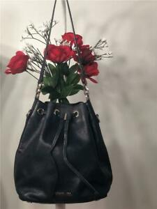 MICHAEL KORS Dark Navy Blue Leather Small Drawstring Bucket Shoulder Bag