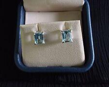 NEW! Blue Topaz Emerald Cut Delicate Earrings in 925 Sterling Silver PRETTY 82