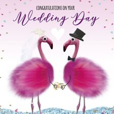Wedding Congratulations Card Bride & Groom Flamingos 3D Goggly Eyes & Fluff New