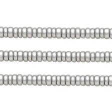 Wood Rondelle Beads Silver 8x4mm 16 Inch Strand