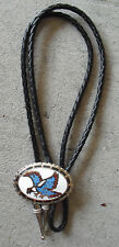 and Leather Bolo Tie Look Enameled Eagle on Metal Bolo Slide