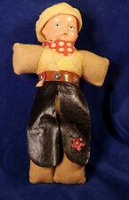 "Vintage CELLULOID COWBOY 8"" w Bandana & Chaps Cloth Covered Body VG Condition"