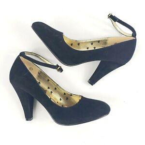 Miss Me Jubilee faux suede black heels Pumps 6.5 ankle strap shoes