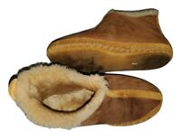 """LL BEAN """"Wicked Good Slippers"""" Sherpa Fleece Suede Moccasin Boots Womens Sz 10"""