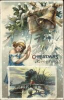 Christmas - Little Girl Ringing Bells c1910 Postcard - Clapsaddle?