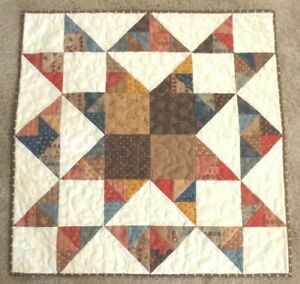 """Hand Made Quilted Table Runner/Topper~ 23 1/2"""" sq~100% Cotton~Multi on off white"""
