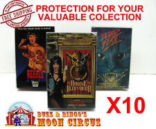 10x VHS MOVIE CARDBOARD BIG BOX - CLEAR PLASTIC PROTECTIVE BOX PROTECTORS SLEEVE
