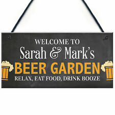 PERSONALISED Beer Garden Sign Funny Bar Pub Sign Man Cave Sign Garden Plaque