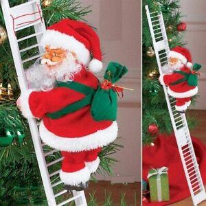Christmas Santa Claus Figure Climbing on Ladder Singing Electric Kids Toys
