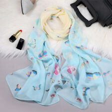 Sky Blue & Cream Butterfly Silk Feel Scarf Lady Women Shawl Wrap (G1-02)