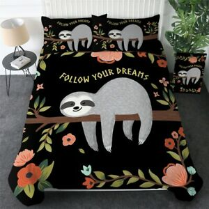 Sloth Floral Animal Cartoon King Queen Twin Quilt Duvet Pillow Cover Bed Set
