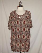 CROFT & BARROW Plus Size 2X Shirt Top Brown Red Pink