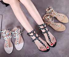 Сандалии с ремешками шпильки заклепки трансвестит квартир плюс размер шлепанцы женские туфли