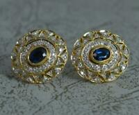 Stunning 18ct Gold Sapphire and 64 Diamond Stud Cluster Earrings p1877