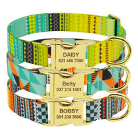Personalised Nylon Pet Dog Collars Name ID Dog Tags Engraved for Small Large Dog