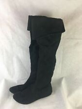 Candies Women's Boots Blue Faux Suede Flat Heel High Boots size 8.5 Black