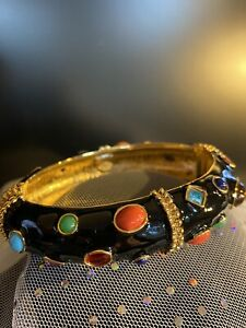 Kenneth Jay Lane Black Enamel Jeweled Bangle Bracelet - NEW