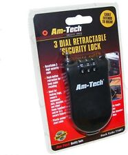 3 Dial Retractable, Push button  Am tech Security Cable Lock, bags, camera, Bike