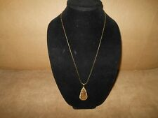 Veronese 18k Yellow Gold/Sterling Silver Wire Wrapped Pendant Chain Necklace