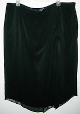 WOMENS VENEZIA LONG BLACK SKIRT WITH RUFFLED EDGE ON LEFT SIDE, SIZE 28