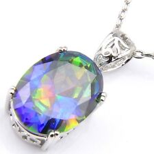 Shine Oval Fire Rainbow Mystic Topaz Cubic Zirconia Silver Pendants Necklaces