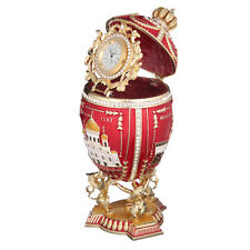 Russian Decorative Faberge Egg 3 Sights of Moscow with clock 7.1'' (18cm) red