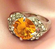 Vintage Cocktail Ring Citrine Glass Crystal Accents Classic Retro Costume Size 7
