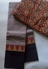 South Cotton pure handloom saree Pale Mauve with chocolate border