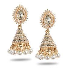 Retro Indian Jhumka Earrings Pearl Rhinestone Drop Wedding Earring Stud Jewelry