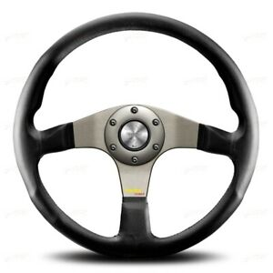 MOMO STEERING WHEEL LEATHER TUNER SILVER / ANTHRACITE 350MM 11110335111L