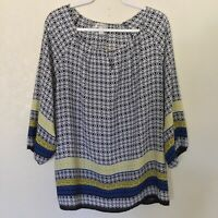 Dressbarn Womens Multicolored Paisley Boho Keyhole Neck Tunic Top Plus Size 1X