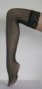 NEW STAY UP STOCKINGS HOLD UP LACE TOP STRIPED NET QUALITY HOSIERY 4 COLOURS