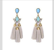 Turquoise Grey Faux Leather Elegant Summer Beach Holiday Statement Earrings