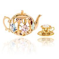 24K Gold Plated Crystal Studded Tea Set Ornaments by Matashi®