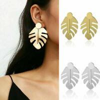 Women Gold Silver Leaf Geometric Statement Drop Dangle Earrings Jewelry Gift