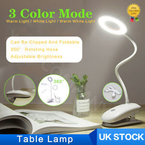 LED USB Clip On Flexible Desk Lamp Table Study Dimmable Memory Bed Read Light UK