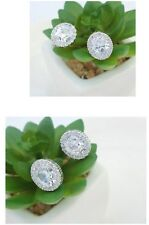 LOVELY 18K WHITE GOLD PLATED GENUINE CLEAR CUBIC ZIRCONIA STUD OVAL EARRINGS