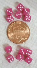 Dice - (12) Twelve 5mm OP Pink with White Pips>>Itty, Bitty, Teeny, Tiny Dice