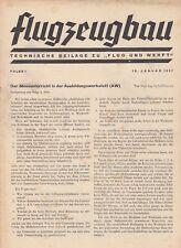 BERLIN, Beilage Zeitschrift 18.01.1937, Flug und Werft DAF 76 Flugzeugbau