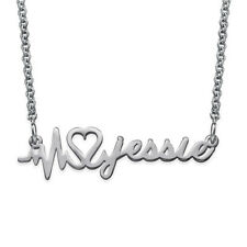 Signature Heartbeat Necklace in Sterling Silver 925 - Personalized (USA Seller)