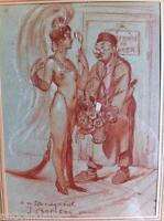 Beau Dessin Femme Fusain crayon rouge signé J CHAMSON CHAMBON ? 1933