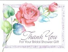 Thank You 8 Count Note Card Thanks for the Bridal Gift Wedding Pink Rose Garden